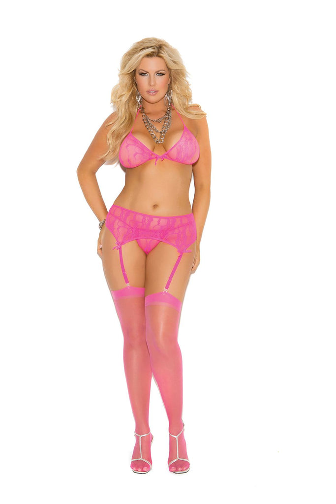 Stretch lace halter bra, garter belt and g-string with satin bow detail.