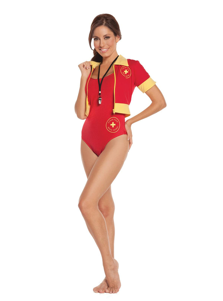 Beach Patrol - 4 pc. costume includes one piece swimsuit, booty shorts, zip front short sleeve jacket and whistle.