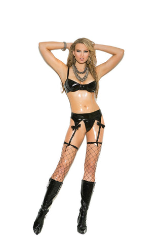 Bra with silver embroidered lace cups, adjustable straps and hook and eye back closure. Matching garter belt with adjustable garters and g-string.