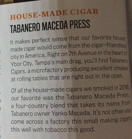 Tabanero Cigars Featured in Cigar Snob Magazine