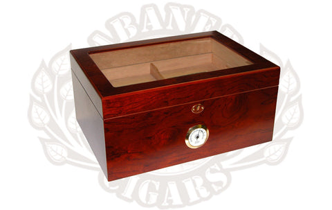 Tabanero Cigars Milano Glass Top Rosewood Humidor - The best thing for keeping your cigars fresh.