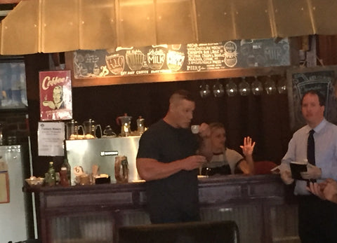 John Cena enjoys some Taba Brew from Tabanero Cigars in Ybor City Florida