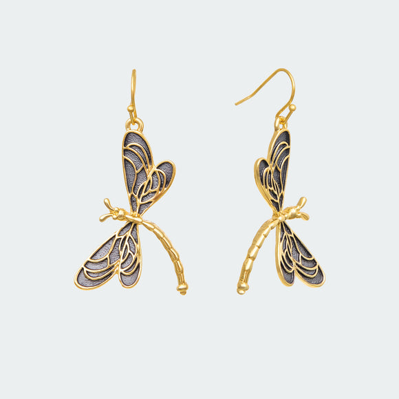 Gold Breezy Dragonfly Earrings