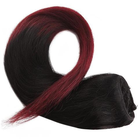 Tie & Dye CLIP IN HAIR EXTENSIONS 100% REMY Hair Straight #1T99J Jet Black Ft. Mahogany Red