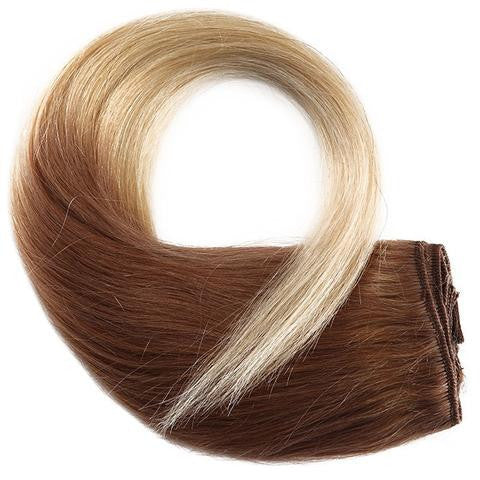 Tie & Dye CLIP IN HAIR EXTENSIONS 100% REMY Hair Straight #8T0613 Chestnut Brown Ft. Blond Platinum