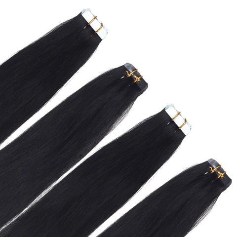 TAPE IN HAIR EXTENSIONS 100% REMY Hair Straight  #1 Black Espresso