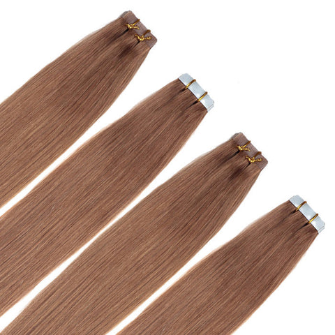 TAPE IN HAIR EXTENSIONS 100% REMY Hair Straight  #8 Chestnut Brown