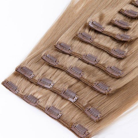 DIVINA™ 240Gr CLIP IN HAIR EXTENSIONS 100% REMY Hair Straight #12 Light Chestnut Brown