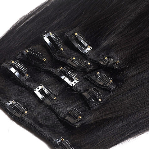 CLIP IN HAIR EXTENSIONS 100% REMY Hair Straight #1 Black Espresso