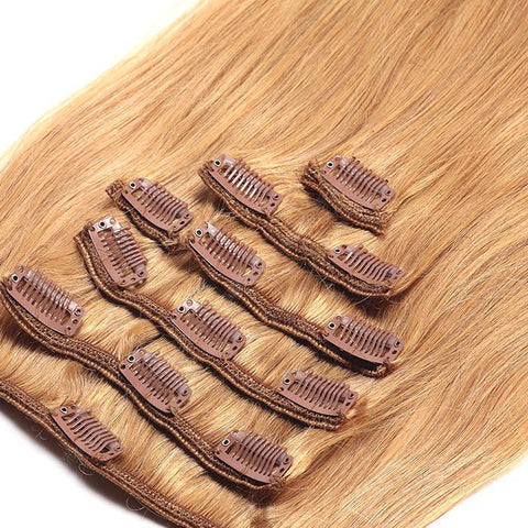 CLIP IN HAIR EXTENSIONS 100% REMY Hair Straight #27 Honey Blonde
