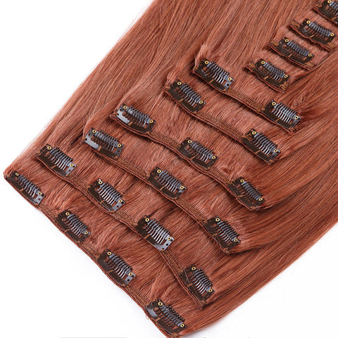DIVINA™ 240Gr CLIP IN HAIR EXTENSIONS 100% REMY Hair Straight #33 Auburn