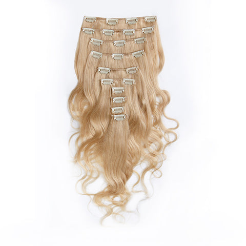 CLIP IN HAIR EXTENSIONS 100% REMY Hair Body Wave #613 Platinum Blonde