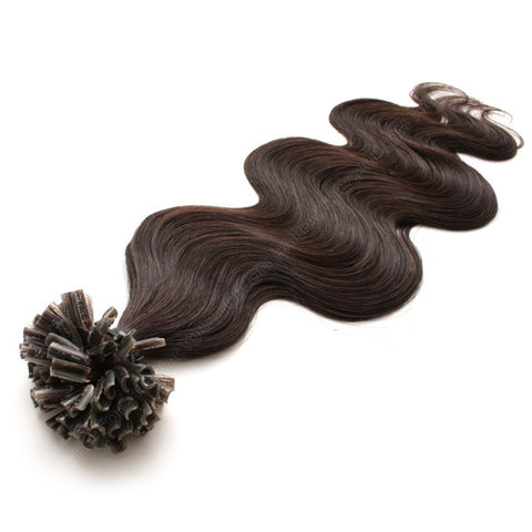 FUSION HAIR EXTENSIONS 100% REMY Hair Body Wave #1B Dark Brown