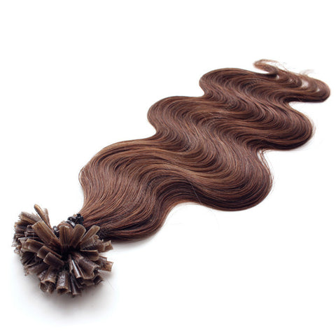 FUSION HAIR EXTENSIONS 100% REMY Hair Body Wave #4 Chocolate