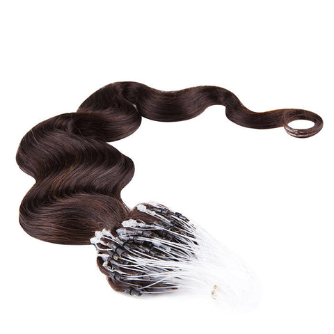 MICRO LOOP HAIR EXTENSIONS 100% REMY Hair Body Wave #1B Dark Brown