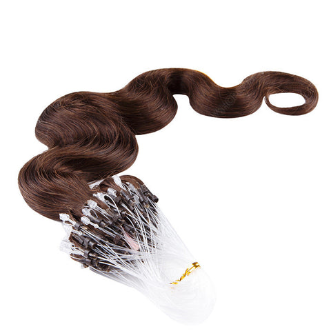 MICRO LOOP HAIR EXTENSIONS 100% REMY Hair Body Wave #2 Brown