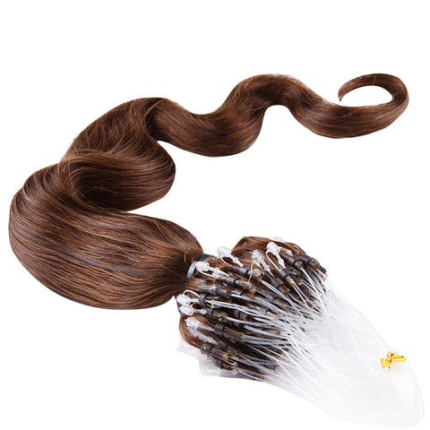 MICRO LOOP HAIR EXTENSIONS 100% REMY Hair Body Wave #4 Chocolate