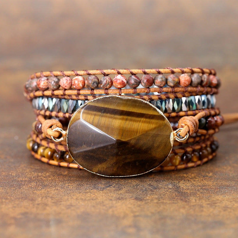 Handmade Tiger Eye Beaded Bracelet