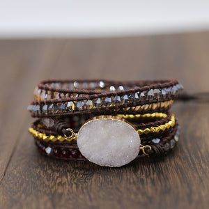 Quartz Stone Beaded Bracelet with Tree of Life
