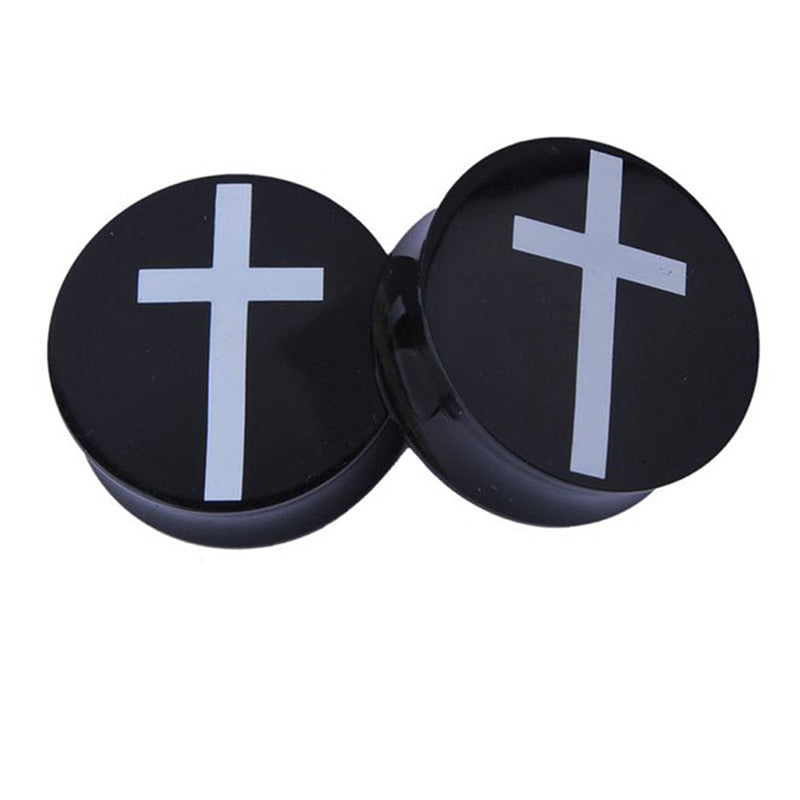 Acrylic Cross Tunnel Earrings