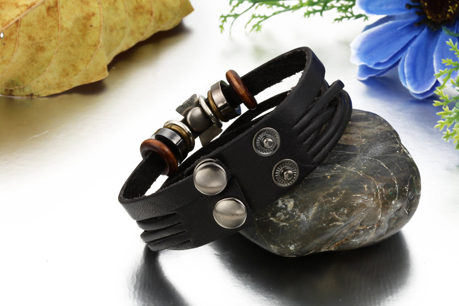 Cross Bead Leather Bracelet