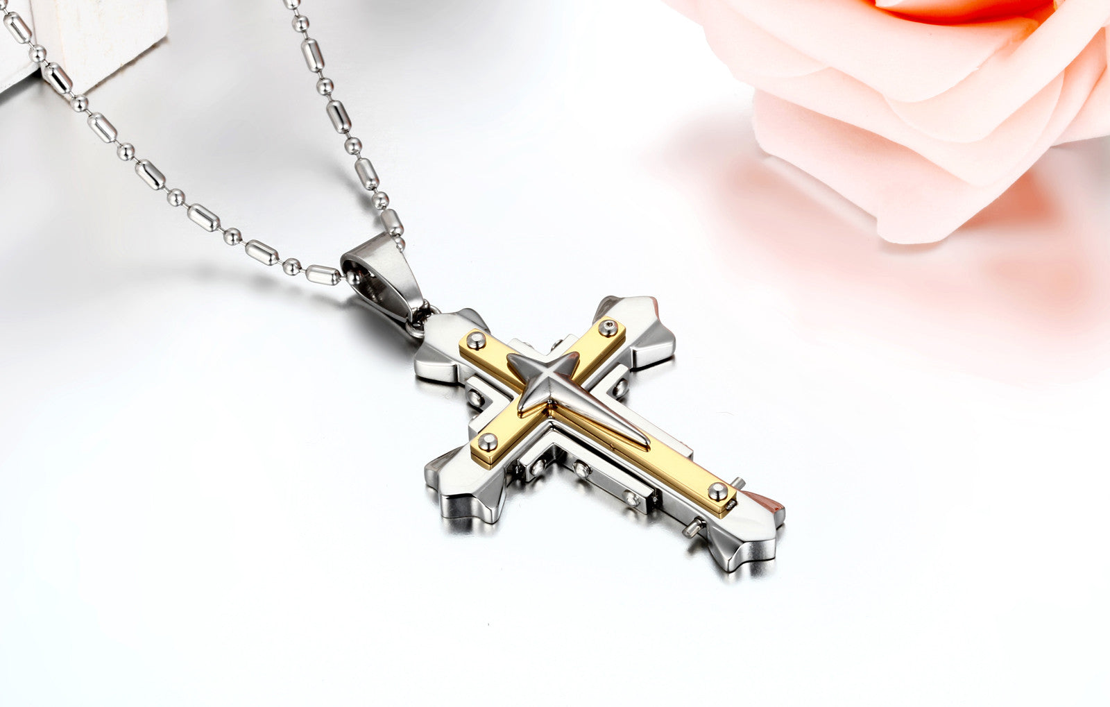Three-layered Cross Necklace