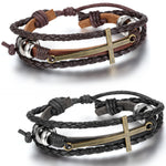 Large Cross Leather Bracelet