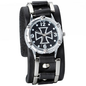 Black Leather Wrist Watch with Cross