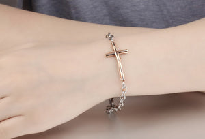Retro Black and Rose Gold Charm Cross Bracelet