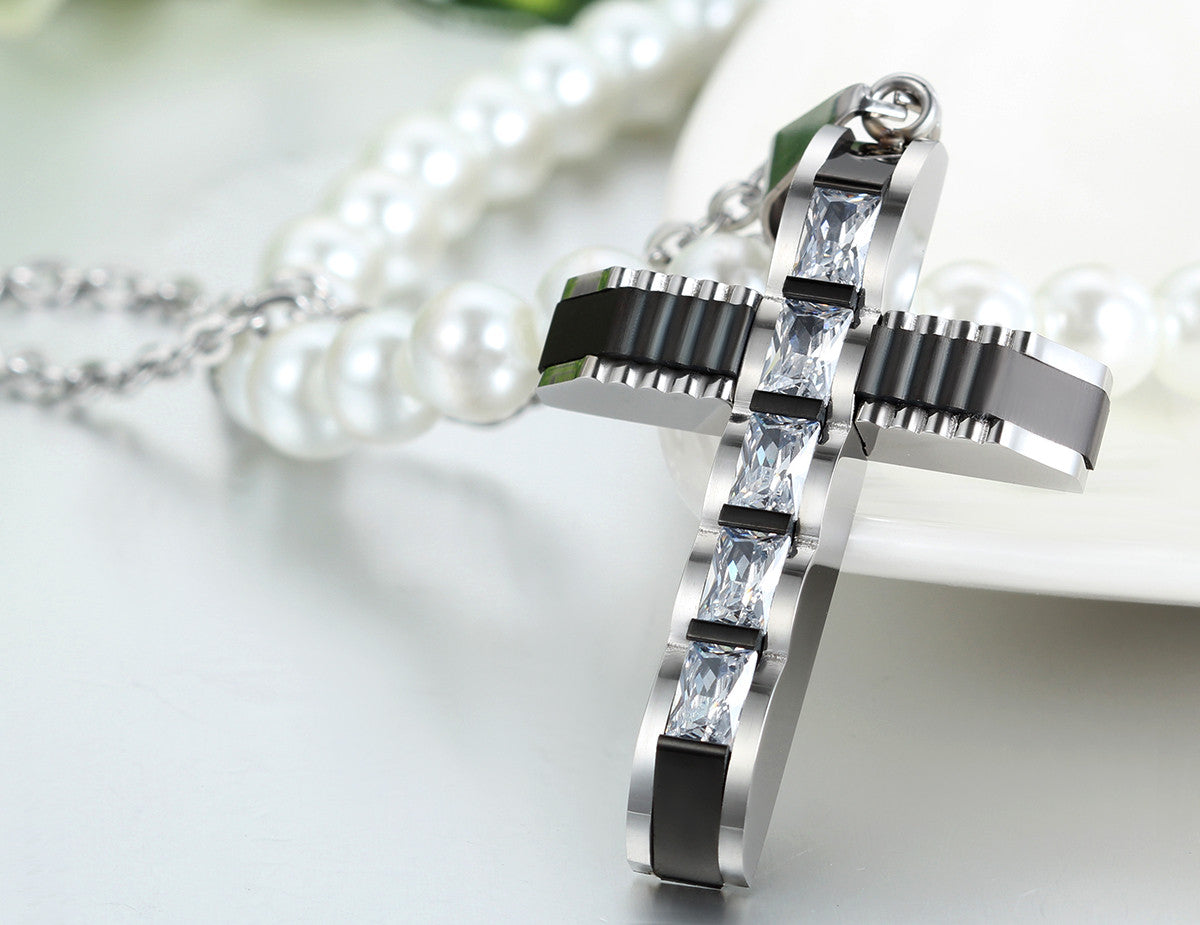Trendy Crystal Cross Necklace