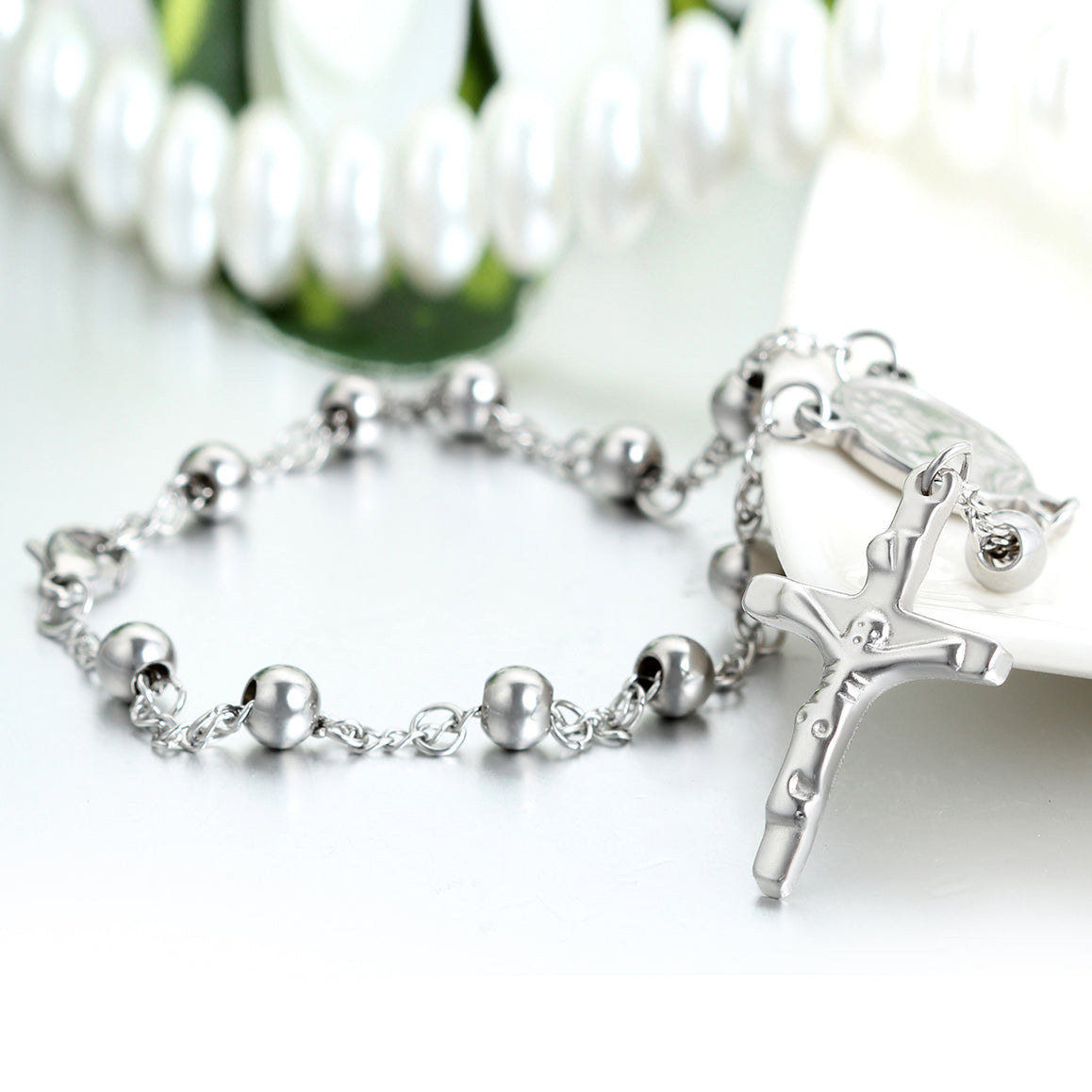 Stainless Steel Crucifix Charm Bracelet