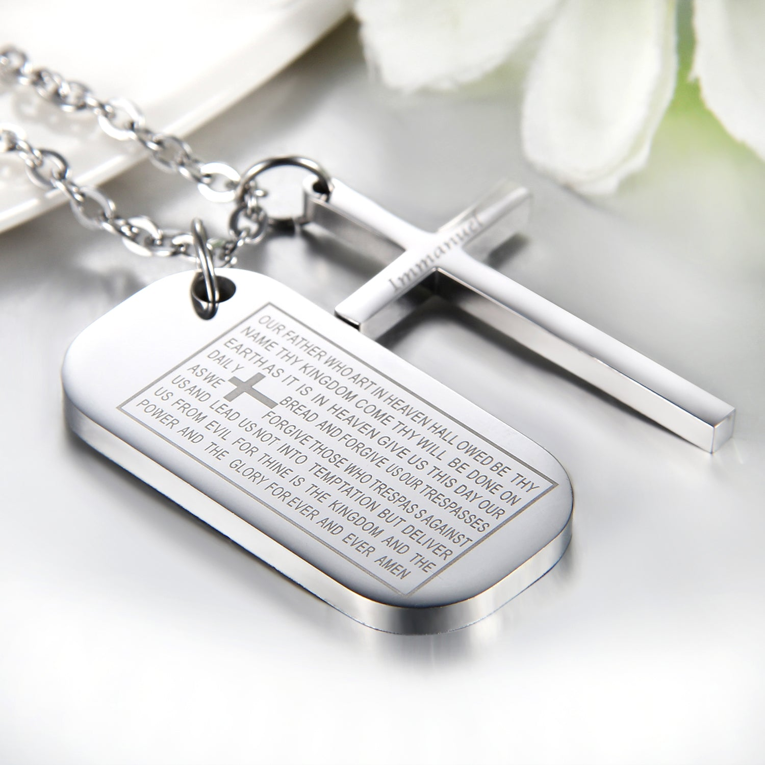 'Our Father' Dog Tag and Cross Necklace