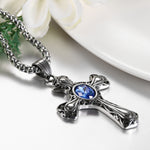 Blue Stone Cross Necklace