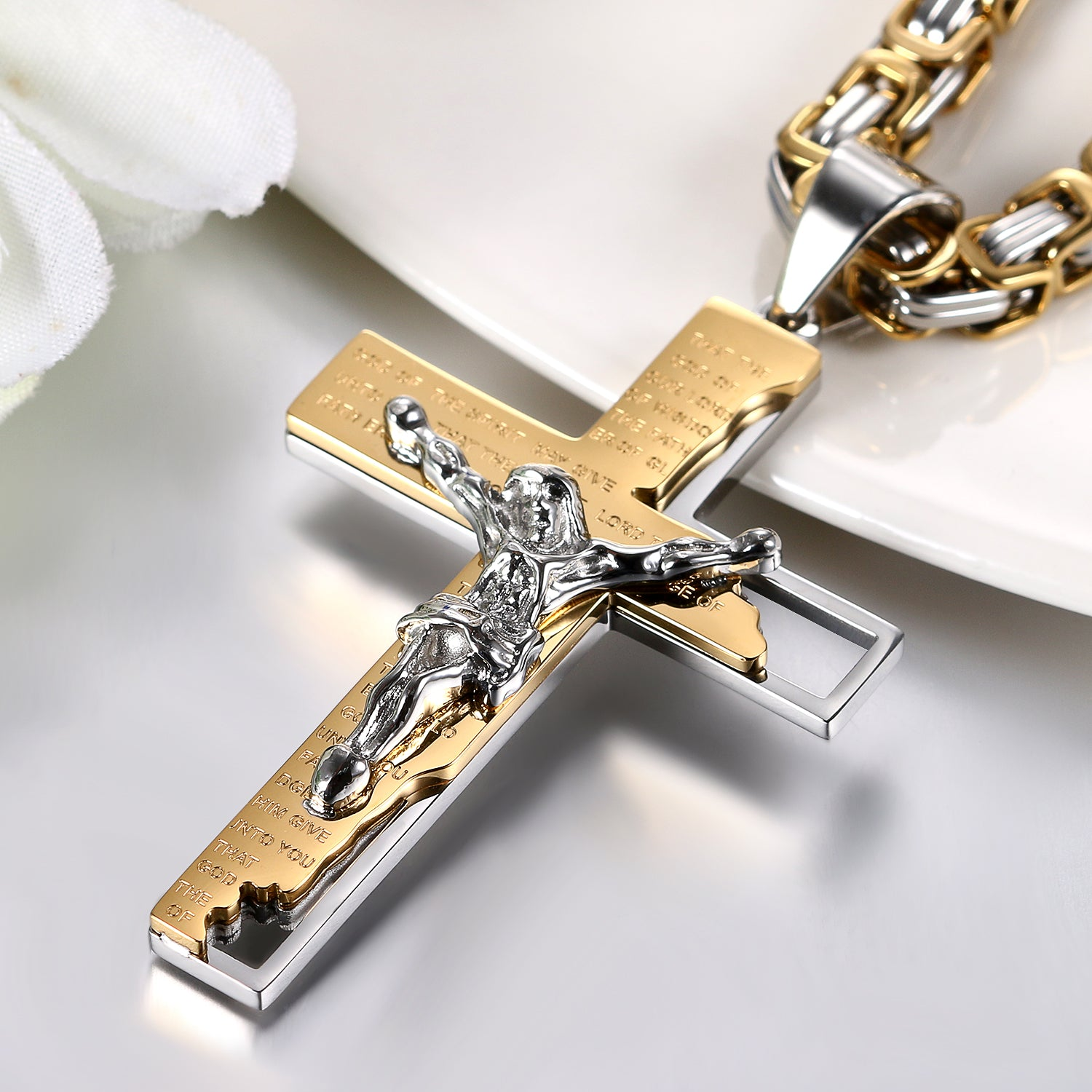 crucifix gold pendant p white