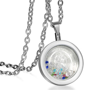 Colorful Virgin Mary Medal Necklace