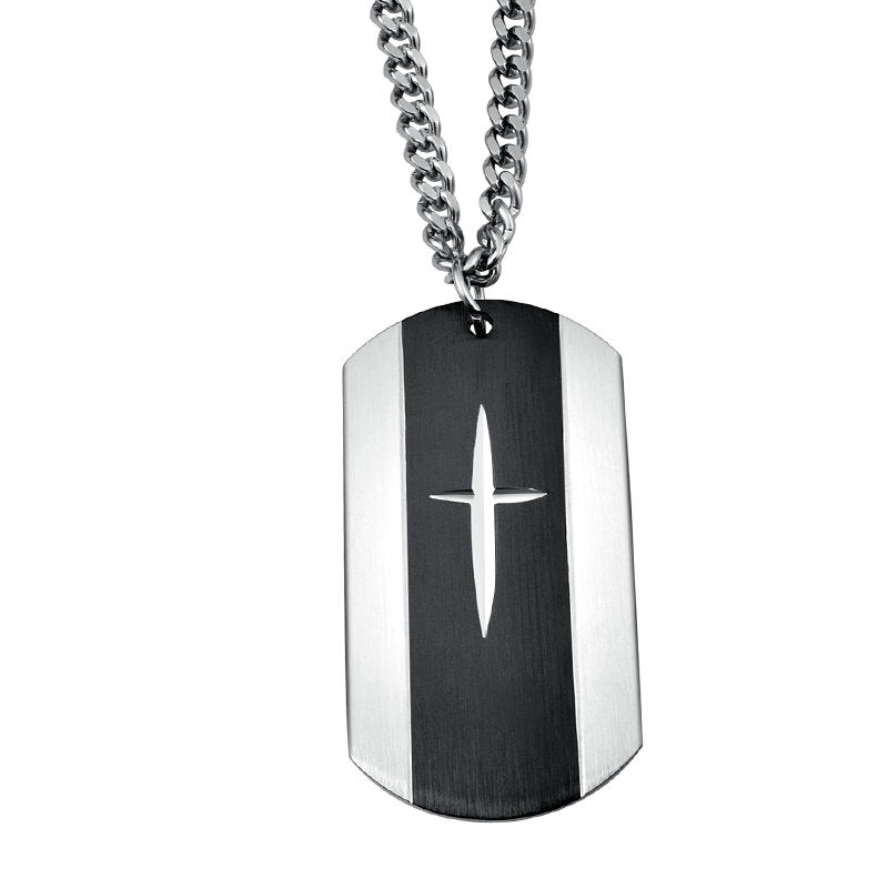 Carved Cross Dog Tag Necklace