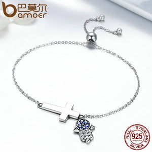 Hamsa Hand and Cross Bracelet