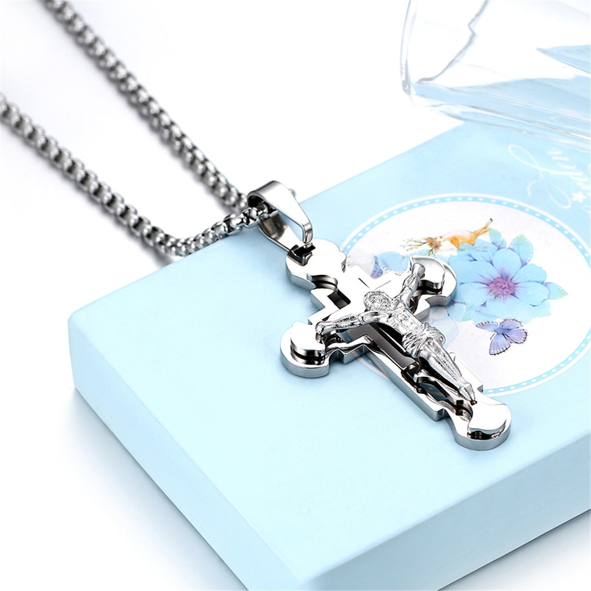 Divine Snake Chain Crucifix Necklace
