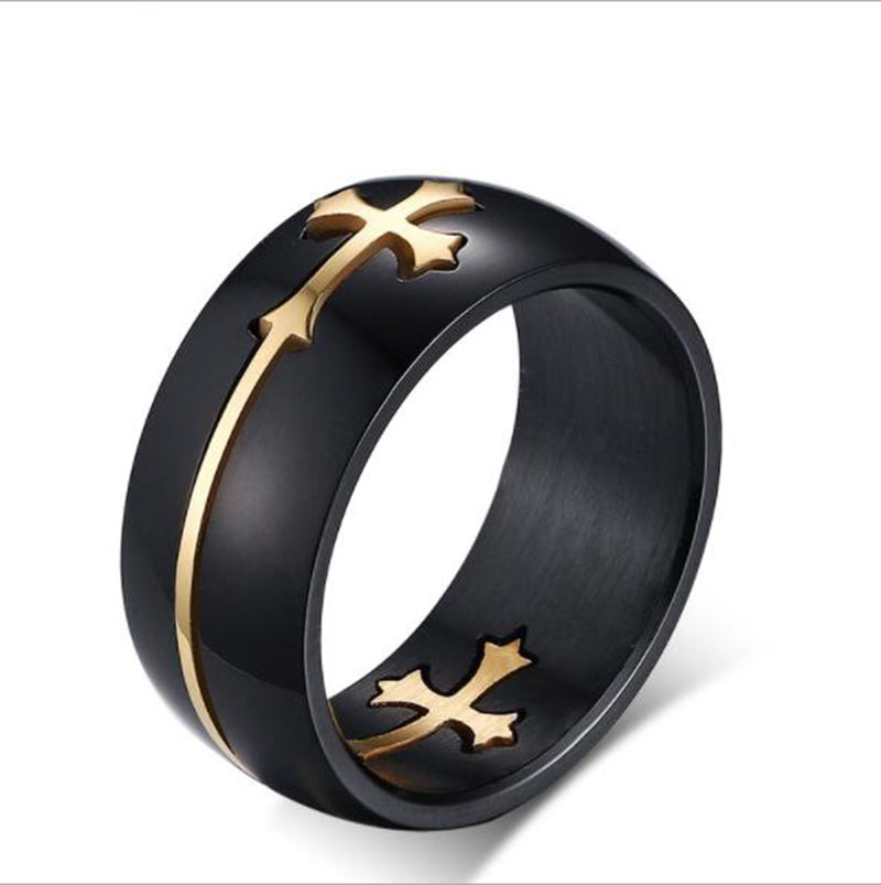 Black Cross Ring in Stainless Steel