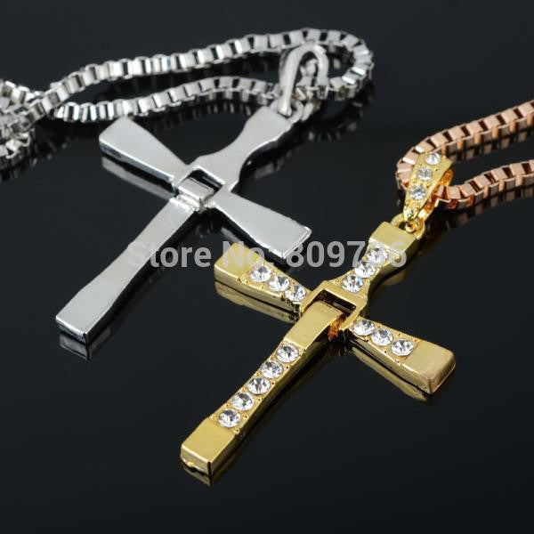 Crystal Stainless Steel Cross Pendant Necklace