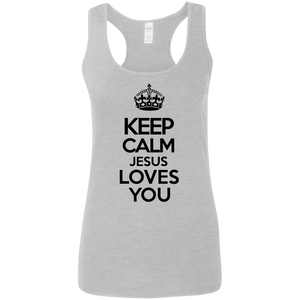 Keep Calm Jesus Loves You - Women Tank Top - Black Font