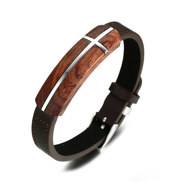 Elegant Rosewood Leather Cross Bracelet