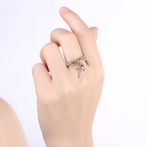 Heart and Cross Charm Ring