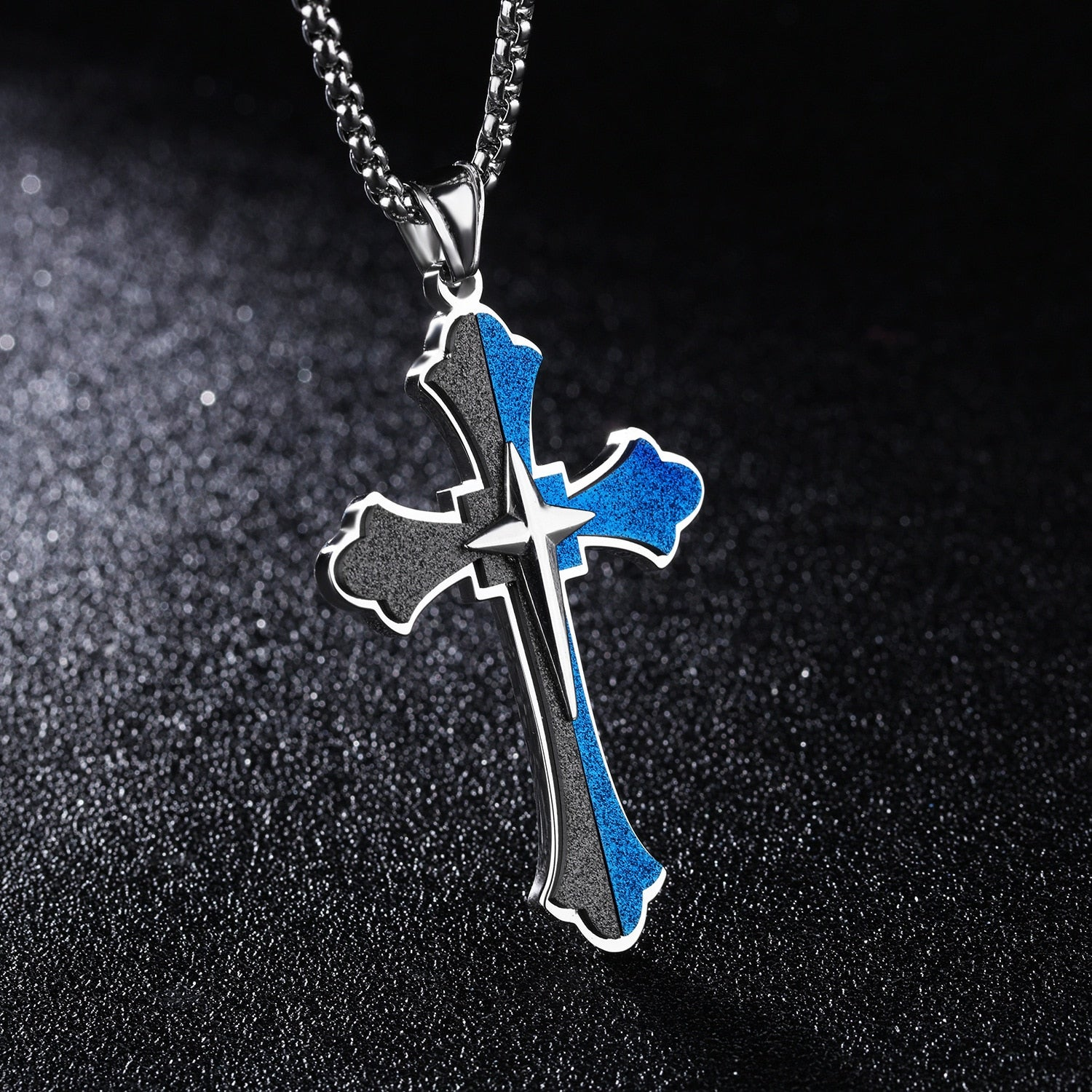 Elegant Two-Toned Cross Necklace