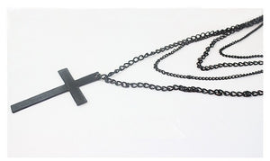 Multi Layer Black Cross Necklace
