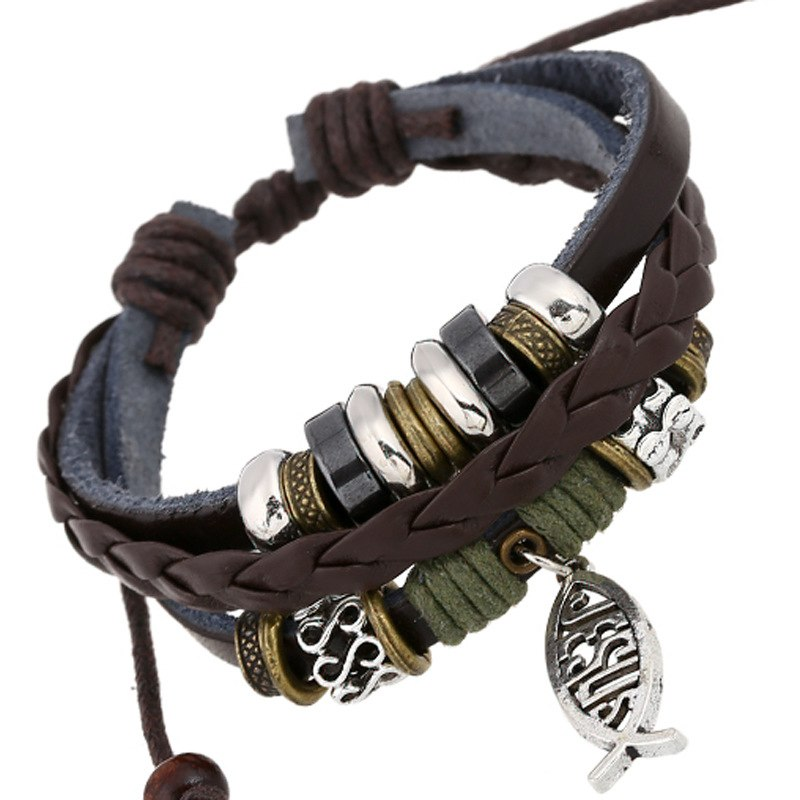 Designer Leather Bracelet with Jesus Fish charm