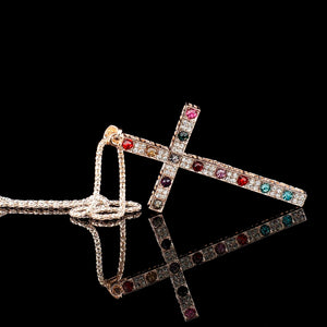 Gallant Multicolor Crystal Cross Necklace