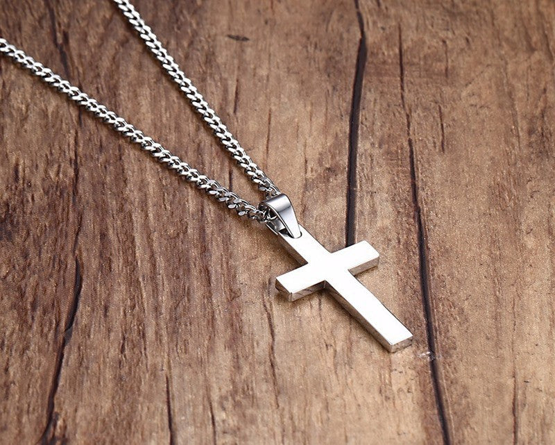 No Frills Stainless Steel Cross Necklace