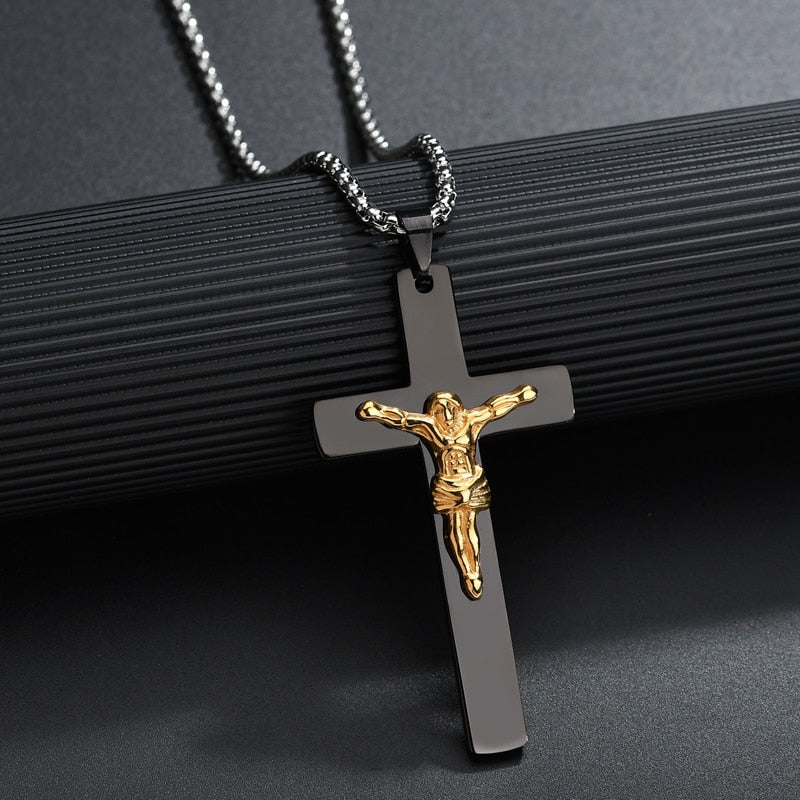 Matte Black Stainless Steel Crucifix Necklace