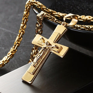 JESUS Engraved Catholic Crucifix